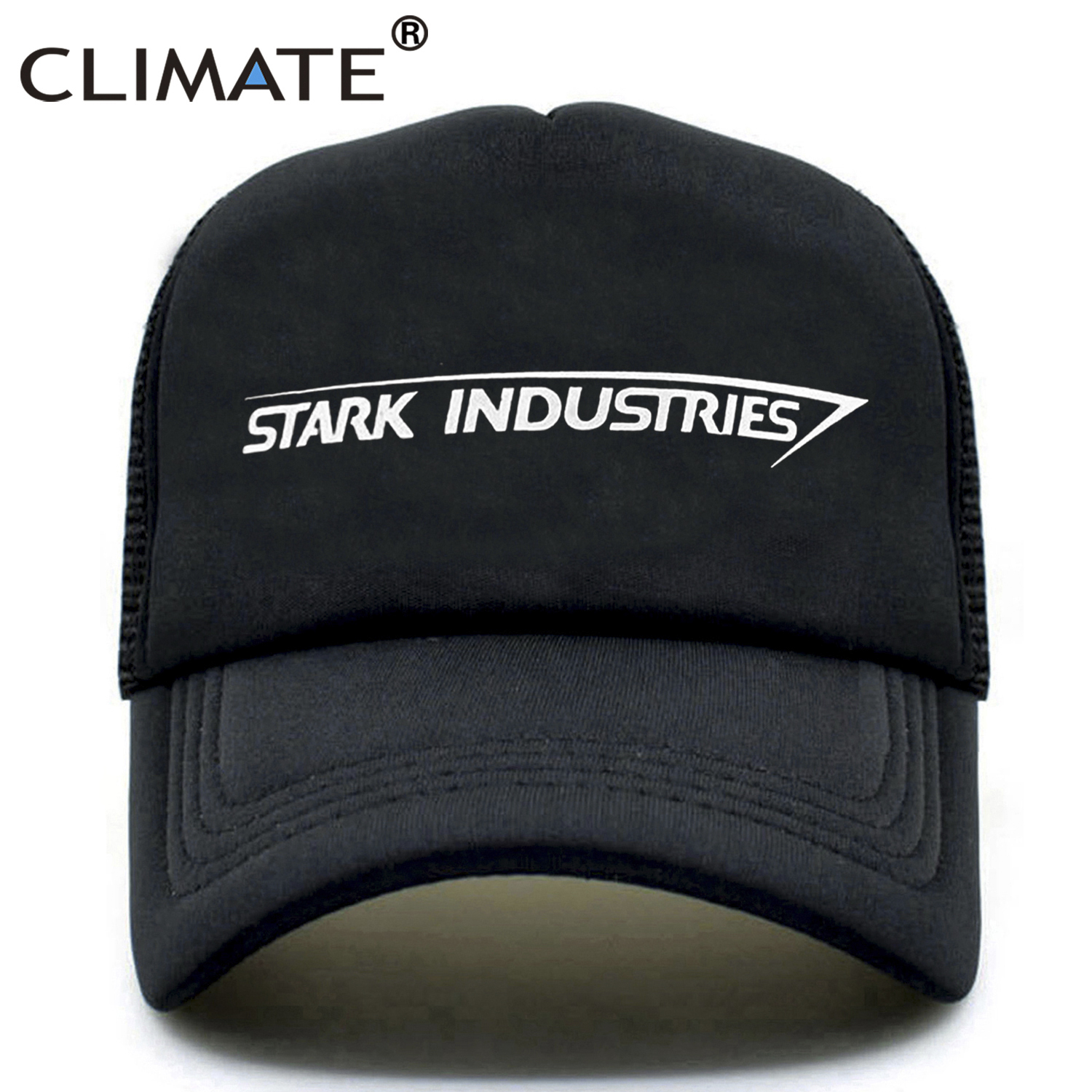 CLIMATE Stark Industries Trucker   Cap   Iron Man   Cap   Hats Tony Stark Avengers Summer Hip Hop Mesh Cool   Caps   Hat for Men Women