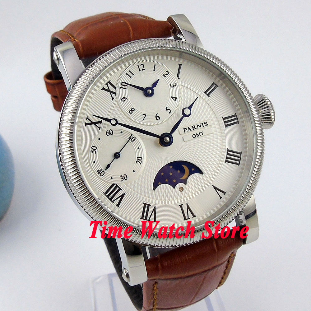 Parnis watch 42mm white dial blue hands Moon Phase brown leather strap hand winding movement  Mens watch P60BParnis watch 42mm white dial blue hands Moon Phase brown leather strap hand winding movement  Mens watch P60B