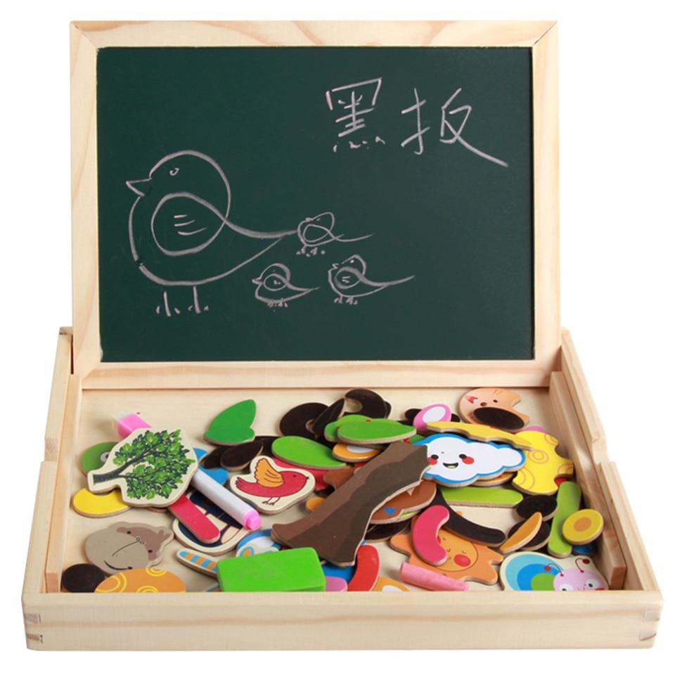 Jouets en bois Puzzles Force magnétique enfants éducatifs début Multi fonction Double face planche à dessin pensée innovante