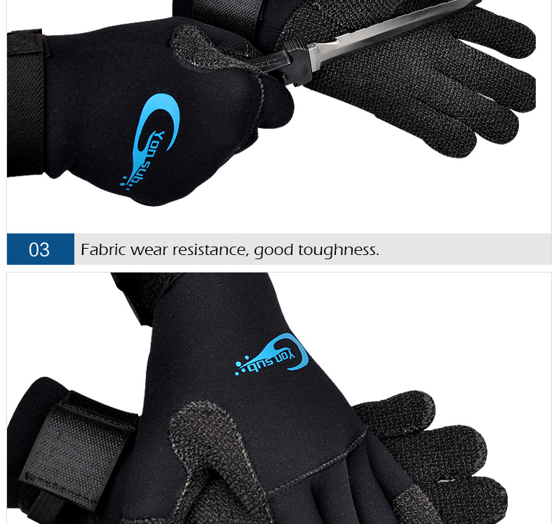 elastic band SCUBA Diving gloves with Kevlar palm 3 mm black. brand new