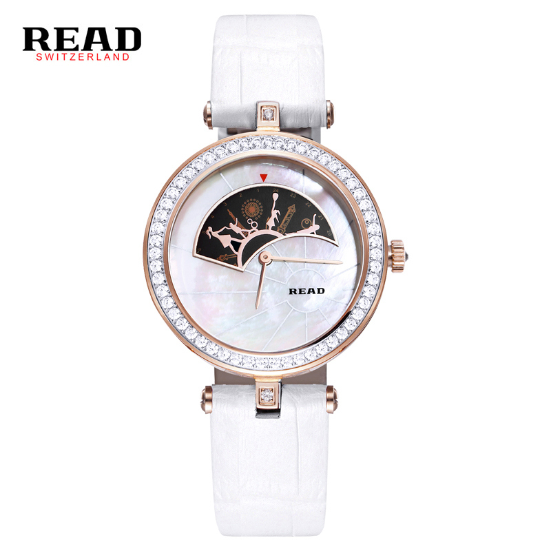 READ new fashion wrist white strap for leather watch women rose gold quartz watches Little girl and mother dance pattern 6062