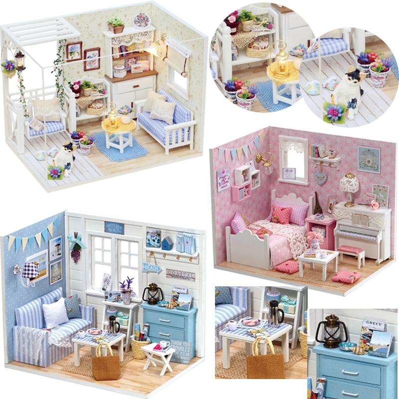 CUTEBEE Doll House DIY Miniature Dollhouse Model Wooden Toy Furnitures Casa De Boneca Dolls Houses Toys Birthday Gift H012