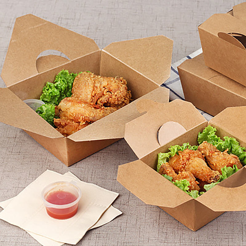 Fast Food Packing Boxes Restaurant Kitchen Wrapping Bag Fries Chicken Packaging Cases Take-away Fast Food Containers Party Ware
