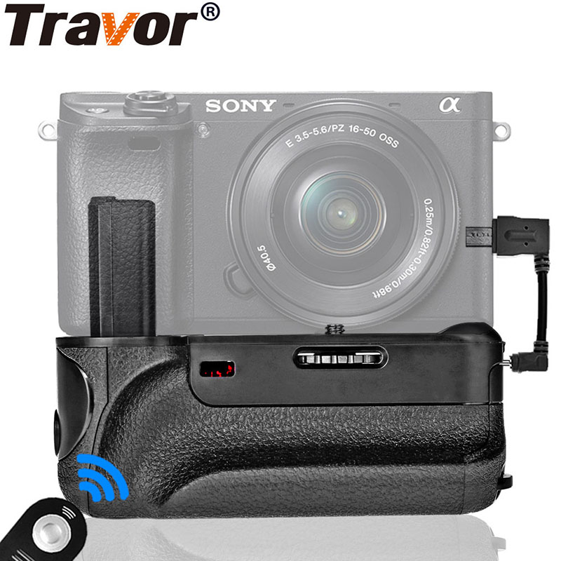Travor Battery Grip with IR Function Cable Connector for Sony Alpha A6000 Camera