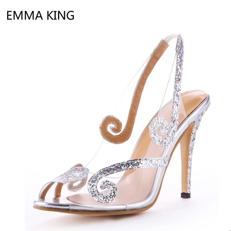 Glitter Women Wedding Shoes Summer Clear PVC Sandals Crystal Peep Toe Slingbacks Dress Shoes Rhinestone Thin High Heels Female