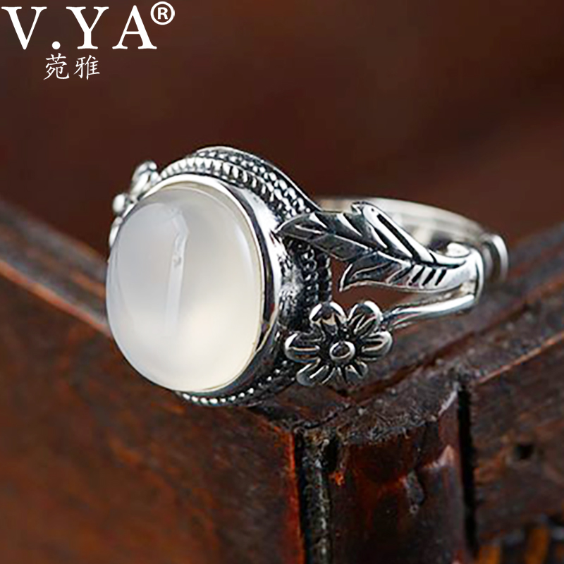V.YA 100% 925 Sterling Silver Rings Vintage Chalcedony Flower Open Rings For Women Mother Lover Gift Retro Fashion Jewelry