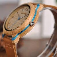 Reloj de madera bambú combinación color pulso cuero 2