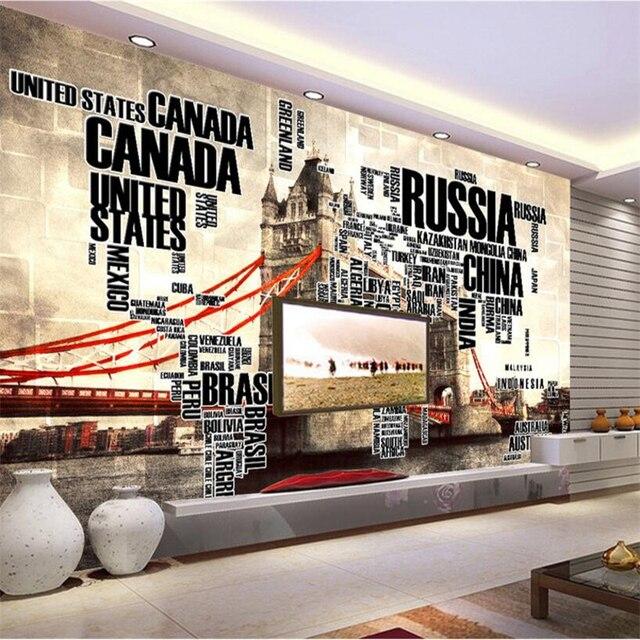Schlafzimmer Englisch | Beibehang Custom 3d Tapete Englisch Brief Welt Karte London Tower