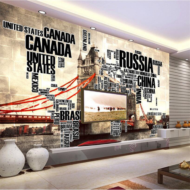 Beibehang custom 3d wallpaper english letter world map london tower beibehang custom 3d wallpaper english letter world map london tower bridge tv background living room bedroom gumiabroncs Gallery