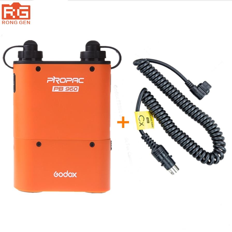 Godox PB960 Double Sortie Flash Batterie power Pack 4500 mAh + Adaptateur câble pour Canon Nikon Sony Godox Yongnuo Flash Noir et Orange