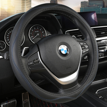 KKYSYELVA Car Steering Wheel Cover Auto Steering-Wheel Black Leather 38cm Wheel Covers  Interior Accessories new vinyl furniture wood grain leather steering wheel covers comfortable car steering wheel cover fits 38cm car accessories