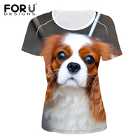 FORUDESIGNS 3D King Charles Spaniel Dog Girls Fashion Summer T Shirt Short Sleeves Elasticity Brand Design Women Clothing Tops