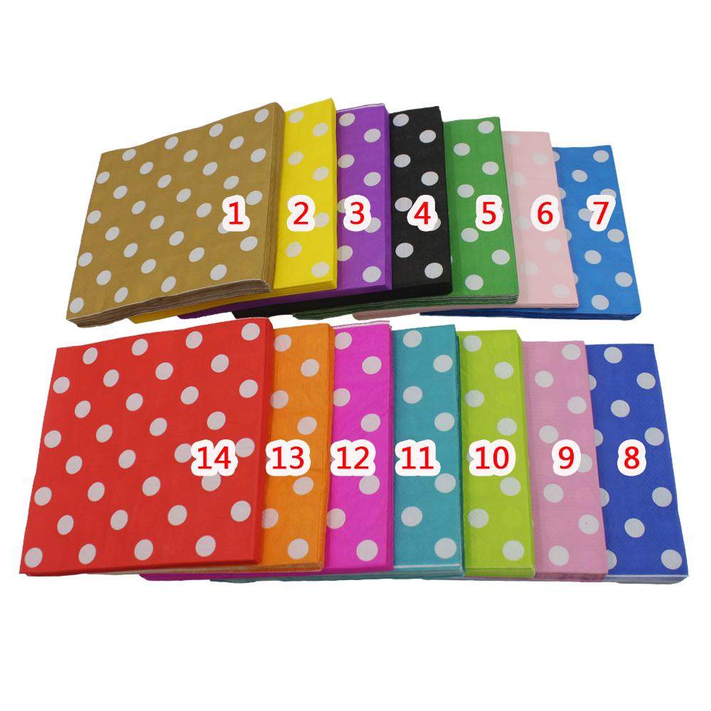 [RainLoong] Polka Dot Papier Servet Para Festas & Party Tissue Cartoon Supply Party Decoratie Papier 33 cm * 33 cm 1 pak / partij