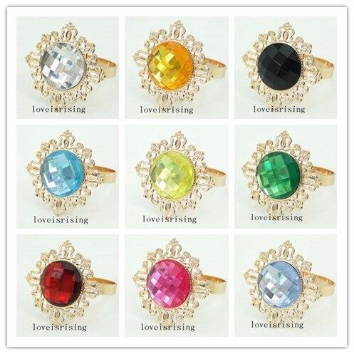 22 Colors Pick--100pcs/lot Acrylic Gem Napkin Rings Vintage Style Gold-tone Metal Rings Wedding Decor Napkin holder
