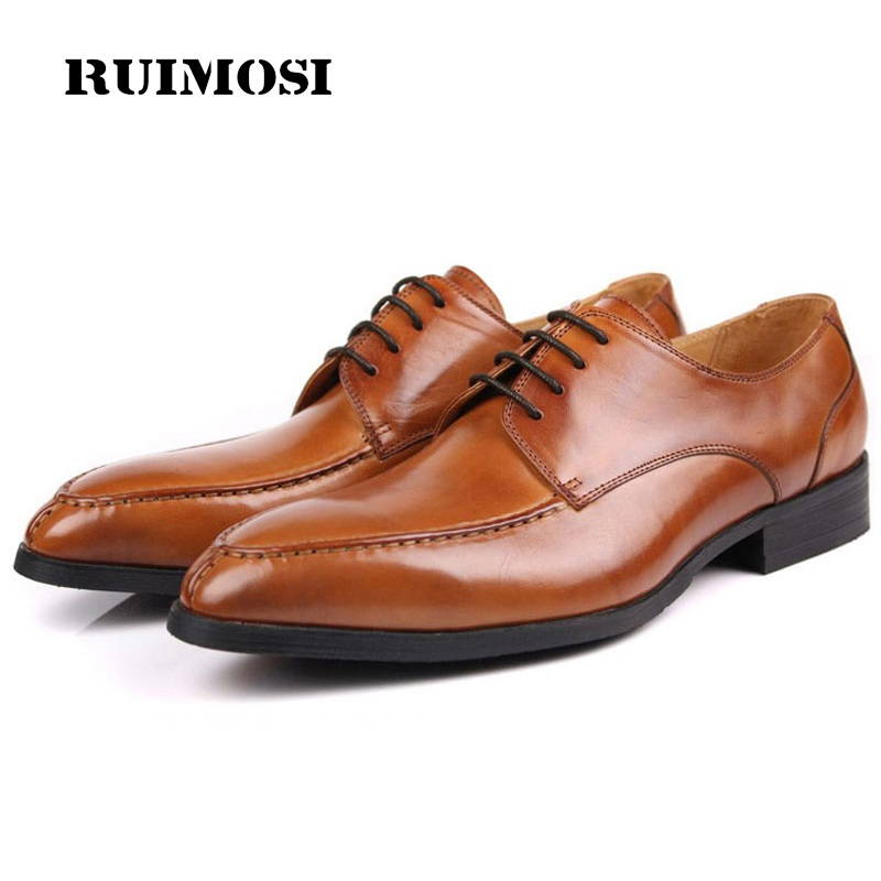 RUIMOSI Elegant Round Toe Formal Man Dress Shoes Genuine Leather Derby Oxfords Luxury Brand Men's Wedding Bridal Footwear ME91