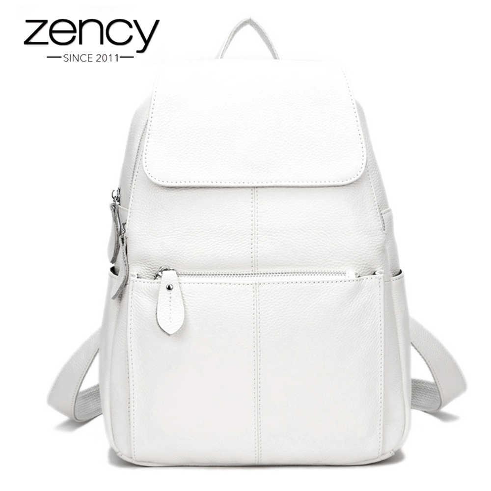 Zency Мода Цвет 100% натуральная кожа повседневные женские повседневные дорожные рюкзаки рюкзак для ноутбука сумка женская карманная девушка школьный