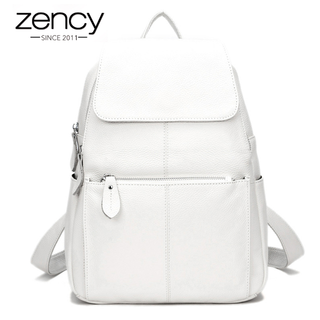 Zency Cor Da Moda 100% de Couro Genuíno das Mulheres Casuais Mochilas Casuais Mochila de Viagem Mochila Bolsa Para Laptop de Bolso Das Senhoras Da Menina