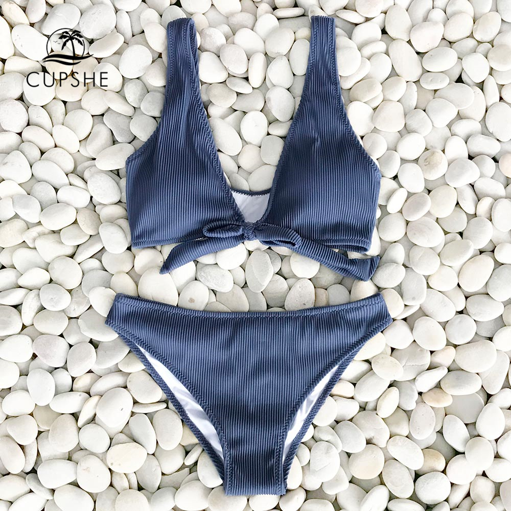 CUPSHE Deep Love Solid Bikini Set Women Blue Summer V-neck Bow Thong Two Pieces Swimsuit 2020 Beach Bathing Suit Swimwear