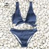 CUPSHE Deep Love Solid Bikini Set Women Blue Summer V-neck Bow Thong Two Pieces Swimsuit 2020 Beach Bathing Suit Swimwear 1