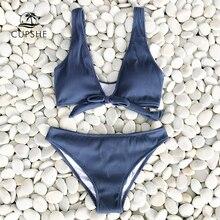 CUPSHE עמוק אהבה מוצק ביקיני סט נשים כחול קיץ V צוואר Bow Thong שתי חתיכות בגד ים 2020 חוף בגד ים בגדי ים