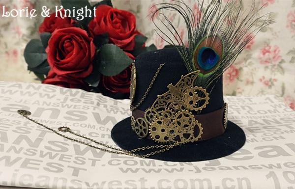 Steampunk Gear & Chain Little Top Hat Retro Black <font><b>Fedoras</b></font> Hat Women/Men Punk Gothic Lolita Cosplay Hat