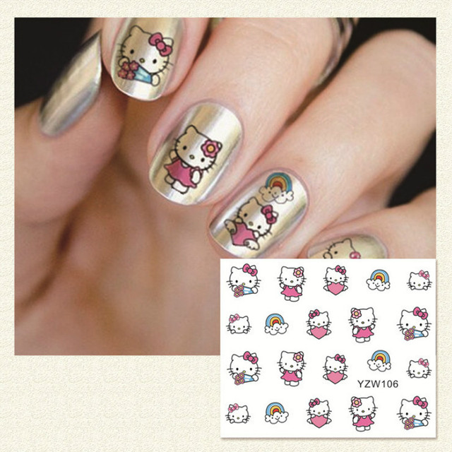 2sheets Hello Kitty Nail Art Stickers Pink Cartoon Cat Nailart 3d