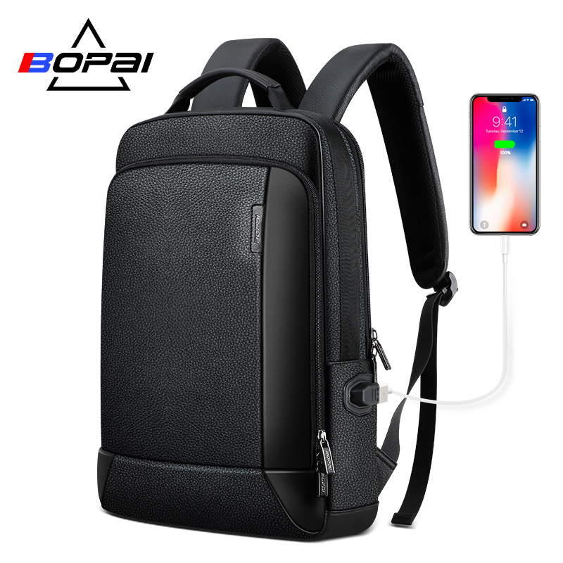 BOPAI New Backpack Genuine Leather Bag Men Business Travel Daypacks Natural Leather Backpacks Real Leather Back Pack Notebook