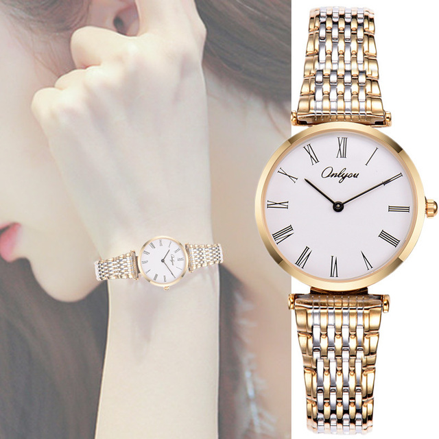 Elegant Ladies Dress Watches Quartz-Analog Movement Silver Gold Stainless Steel Strap Wrist Watches For Women Relogio Feminino