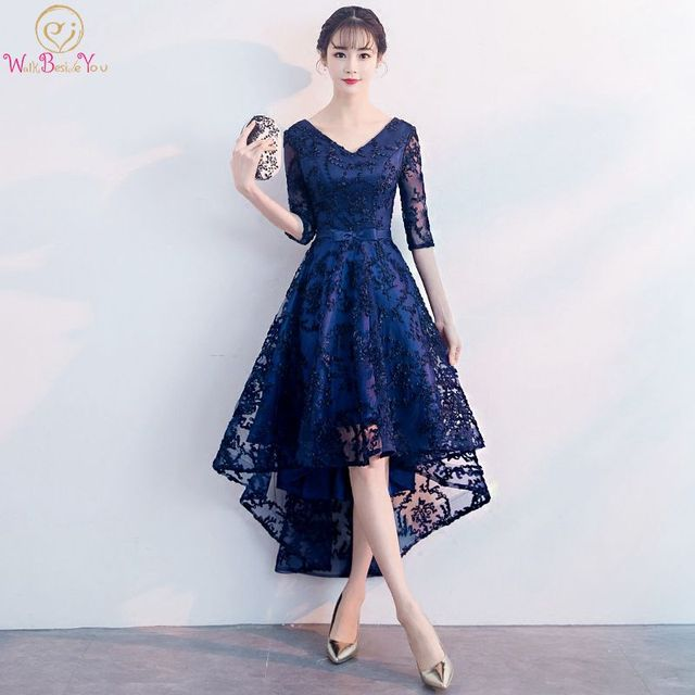 Navy Blue Evening Dresses V-neck Short Front Long Back Lace Bow A-line  Sleeveless Women Party Special Occasion Prom Gown 2019 367ae68ff205