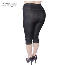 Women High Elastic Faux Jeans Leggings Plus Size Xl-5XL Imitation Jeans Knee Length Pants Skinny Denim Soft Leggings