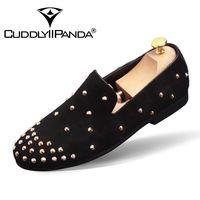 CUDDLYIIPANDA Luxury Designer Personalized Men Casual Wedding Dress Shoes Fashion Tide Men Rivets Slip On Loafer
