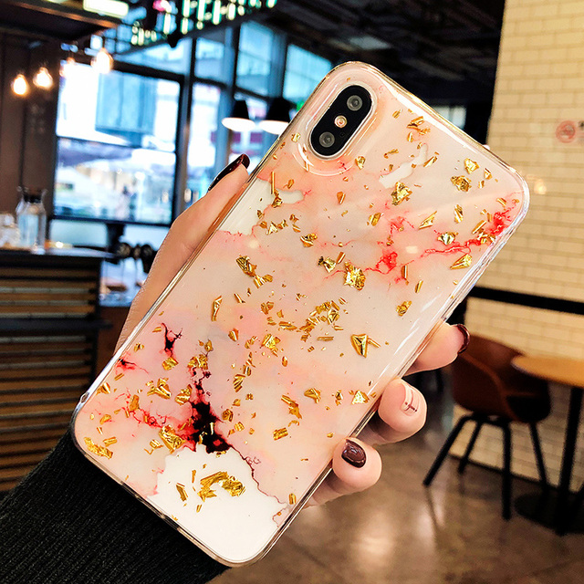 Gold Foil Bling Marble Phone Cases For iphone