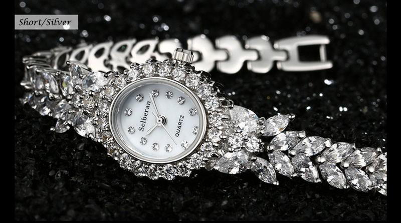16 50M Waterproof Selberan Gold/Silver Natural Zircon Wrist Watch for Women Luxury Ladies Bracelet Watch Montre Femme Strass 23