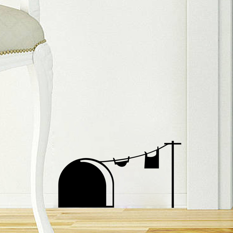 Funny Mouse Hole Wall Sticker Cartoon Rat Hole Removable PVC Stickers Vinyl  Home Decor Bedroom Living Room Mice Wall Decals