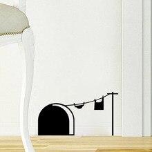 Pegatina de pared con agujero para ratón divertido, orificio para ratas de dibujos animados, adhesivos desmontables de PVC, vinilo para decoración del hogar, dormitorio, sala de estar, pegatinas de pared para ratones