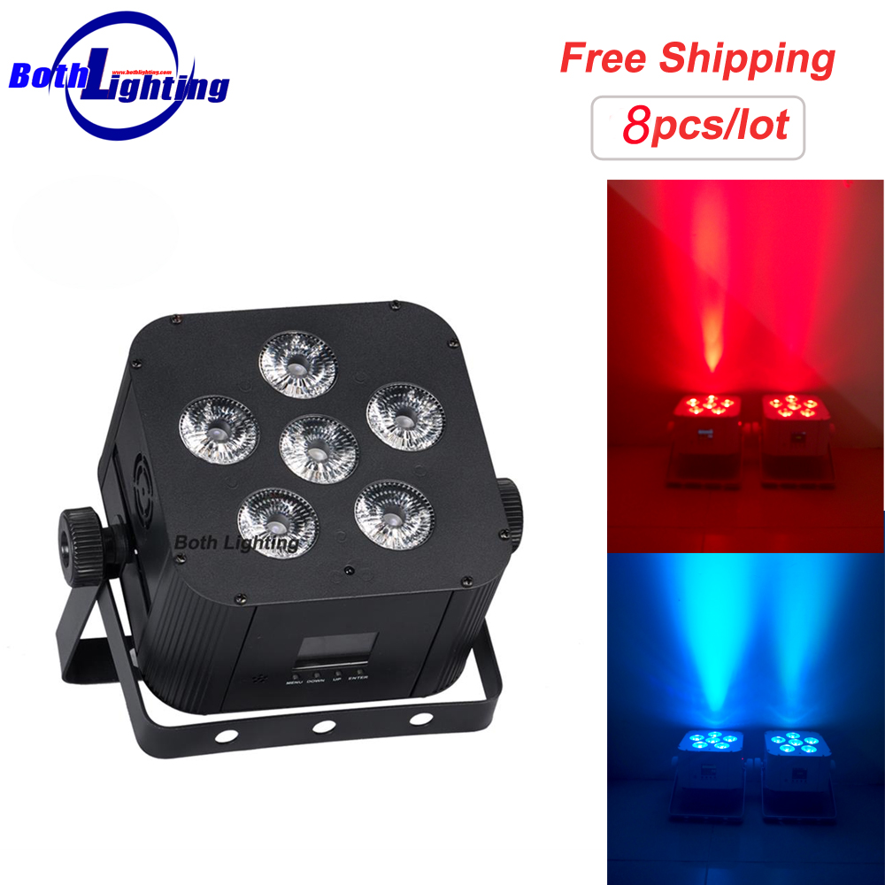 RGBWA+UV 6x18W LED Lithium Battery Powered DMX Wireless Wash Uplighting/wireless Dmx Led Par Light