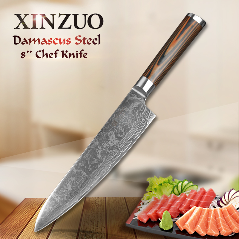 XINZUO 8 chef knives high quality fashion Japanese VG10 Damascus stainless steel kitchen knife pakka wood
