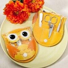 Envío gratis + precioso búho diseño del sistema de manicura regalo de boda pedicura Kit nupcial ducha favores y regalos para invitados + 80 set/lote