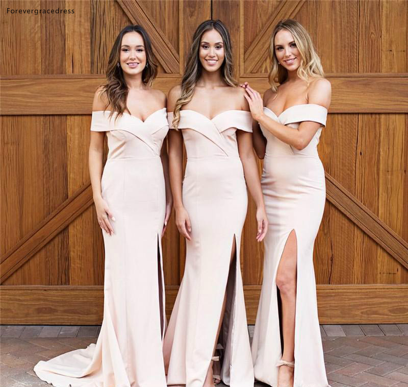 New Design Off Shoulder   Bridesmaid     Dresses   2019 Mermaid Summer Country Garden Formal Wedding Party Guest Maid of Honor Gowns
