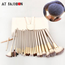 AT FASHION 24 pcs Makeup Brush Set Soft Taklon Hair Professional Cosmetic Kits Foundation Powder Blush Eyeliner Brushes Kit Tool
