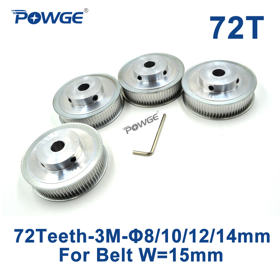 POWGE 4pcs 72 Teeth HTD 3M Timing Pulley Bore 8mm 10mm 12mm 14mm for Width 15mm 3M Synchronous belt pulley HTD3M 72Teeth 72T CNC powge 1pcs steel 18 teeth htd 3m timing pulley bore 8mm for width12mm 3m timing belt rubber htd3m pulley belt tooth 18t 18teeth