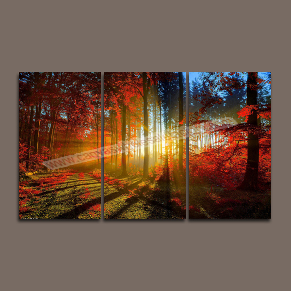 Hot Unframed Wall Art Canvas Painting 3 Piece Canvas Art Prints Red ...