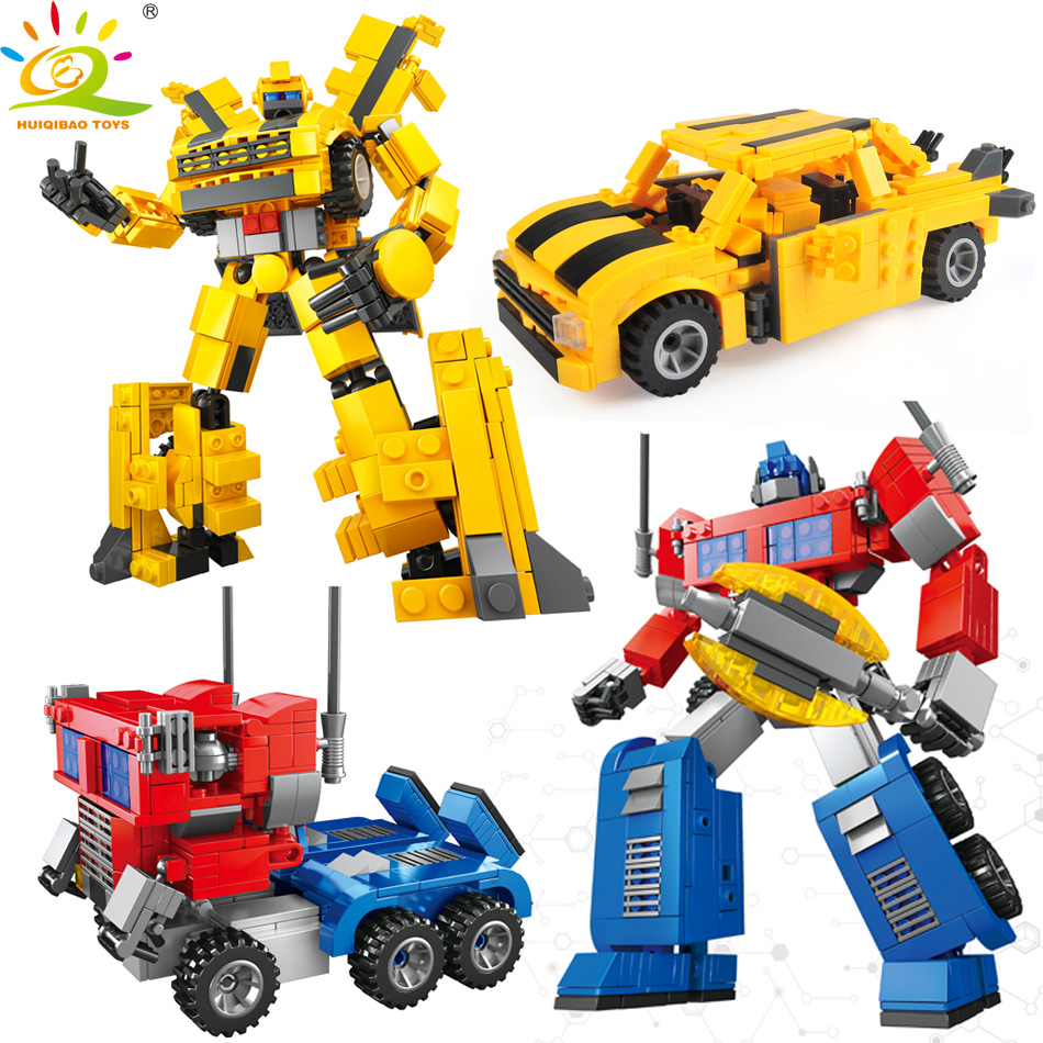 HUIQIBAO TOYS 2in1 Transformation Truck Robot Action Figures Building Blocks Classic Toys For Boy Compatible Legoed Military Car
