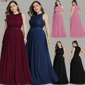 Image 2 - Long Burgundy Prom Dresses 2019 Ever Pretty Elegant Beading A Line Pleated Chiffon Lace Formal Party Gowns Vestidos De Fiesta