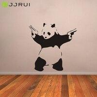 JJRUI Wall Stickers Large Bad Panda Banksy Gangster Guns Wall Art Decal Vinyl Home Decor For