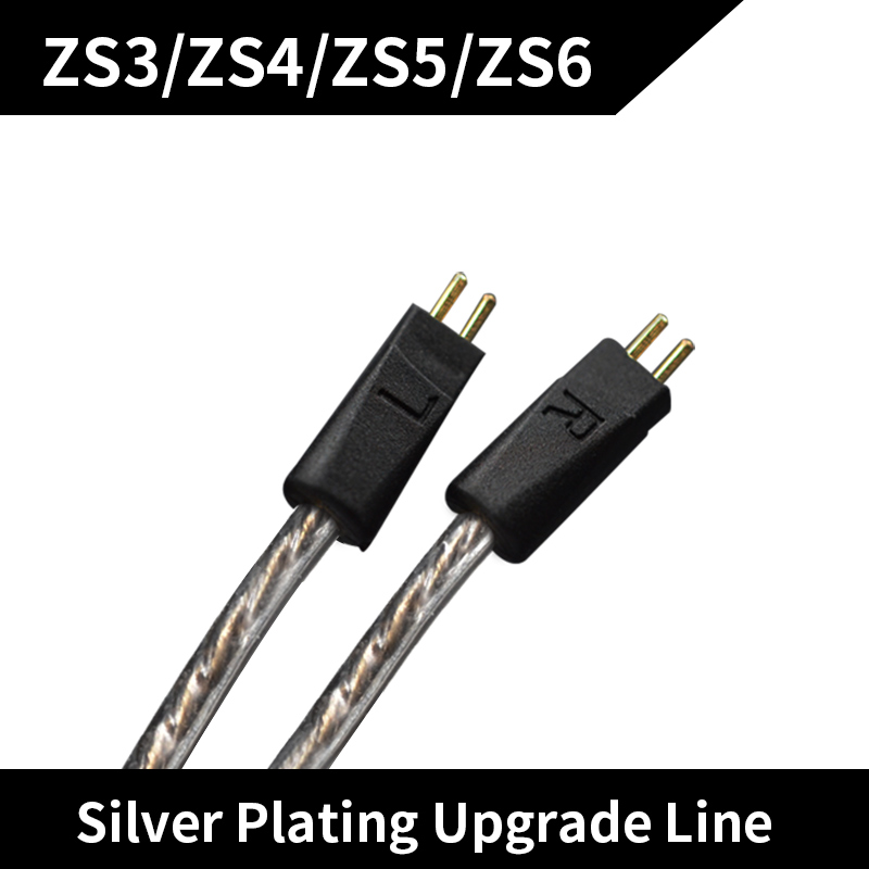 New KZ ZS6ZS5 ZSTED12 Dedicated Cable 2Pin Upgraded Plated Silver Cable 2 PIN Replacement Cable Ues For ZS6ZS5ZS3 ZSTED12