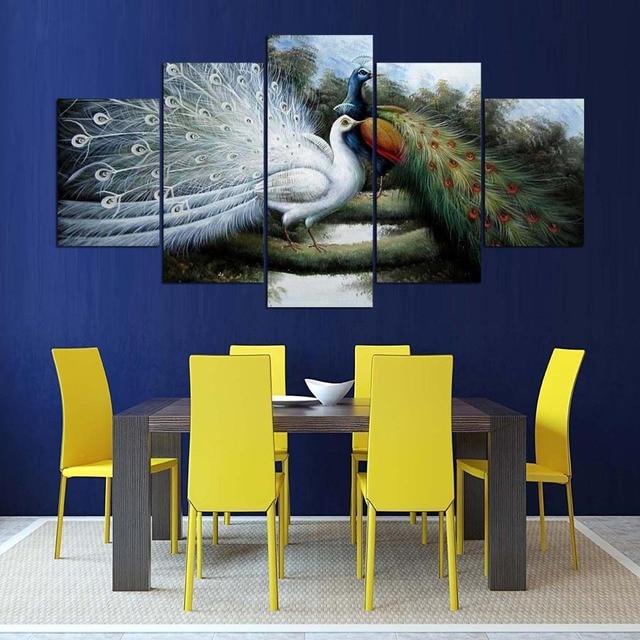 Modulaire Photos HD Imprimé Abstrait Mur Art Cadre Salon Moderne 5 Panneau  Anime Paon Peinture Décor