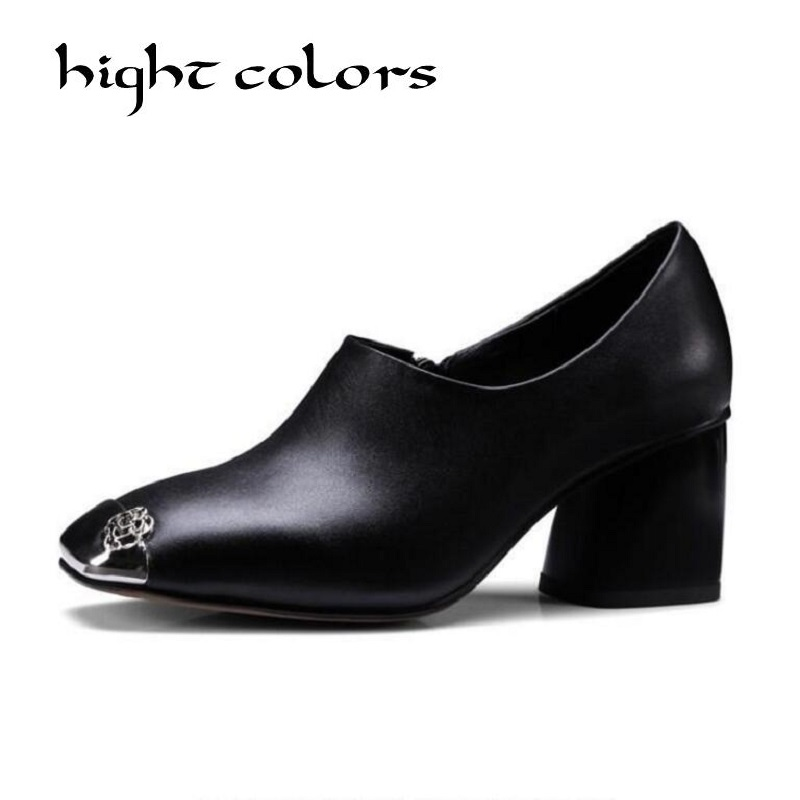 Side zipper metal decoration square toe genuine leather shoes high heels women pumps ladies black Sexy chaussure femme 3 inch autumn horsehair platform square toe creepers high heels yellow ladies green wedge shoes genuine leather wine red pumps