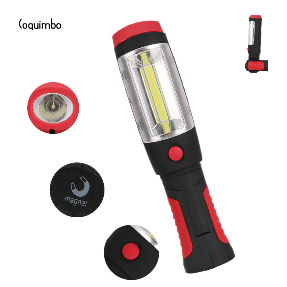 Coquimbo Portable LED Flashlight Work Light Lamp With Magnet & Rotating Hanging Hook Used 3 x AAA Batteries Camping Torch Light led hook light magnetic flashlight perfect torch work lamp with magnet and 2 light modes camping outdoor sport drop clh