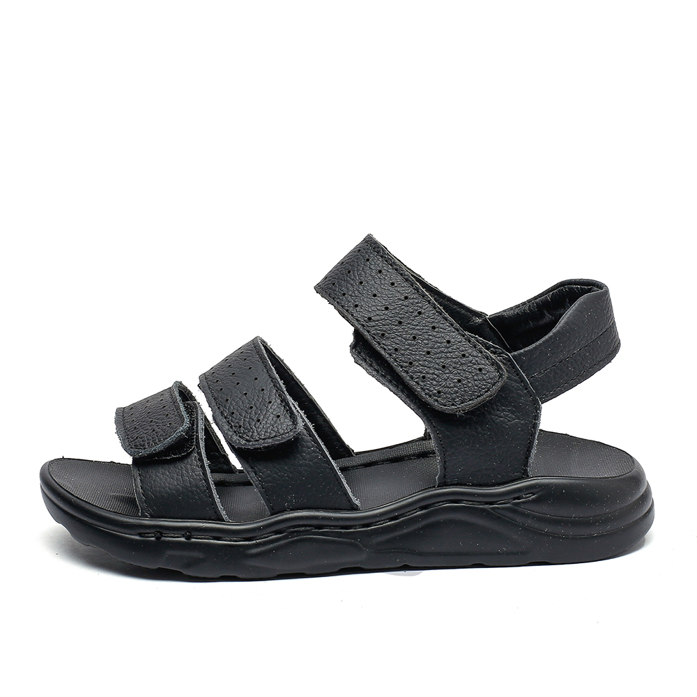 Image 2 - Big boys black leather sandals beach sandals children formal shoes school shoes kids quality summer shoes open toe 26 37 3strapssandals childrenkids summer shoeskids shoes summer -